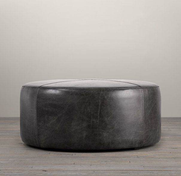 "36"" Cooper Round Leather Ottoman in Vintage Cigar color"