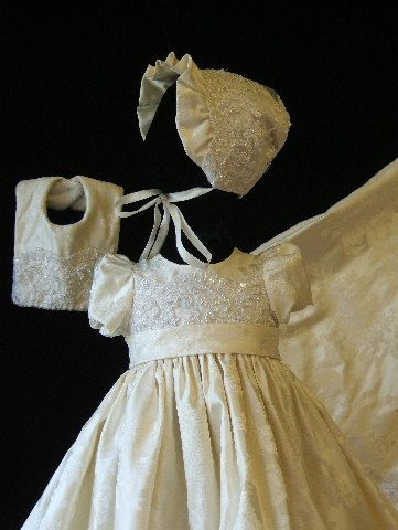 $215 Ivory silk brocade christening gown with lace and pearl embroidered embelishements includes booties, bib, bonnet, bloomers, blanket and monogram