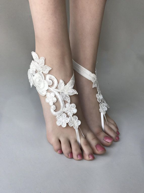 242fcece3c28 ivory or white lace barefoot sandals Beach wedding barefoot sandals wedding  shoes bridal sandals beach anklets bride bridesmaid gift
