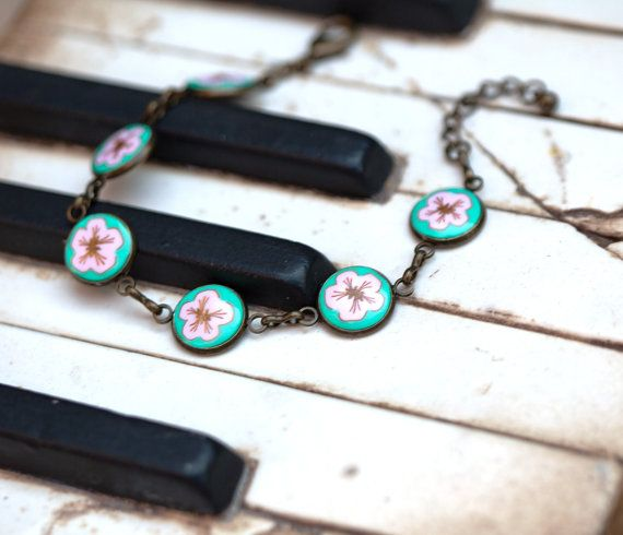 cherry blossom bracelet polymer clay bracelet by zhabkadesigns