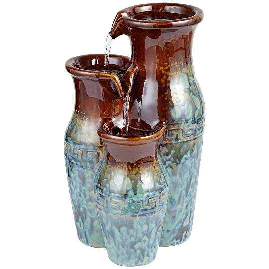 Mediterranean Jar Ceramic 7-Inch-W Tabletop Fountain - #EU1G456 - Euro Style Lighting