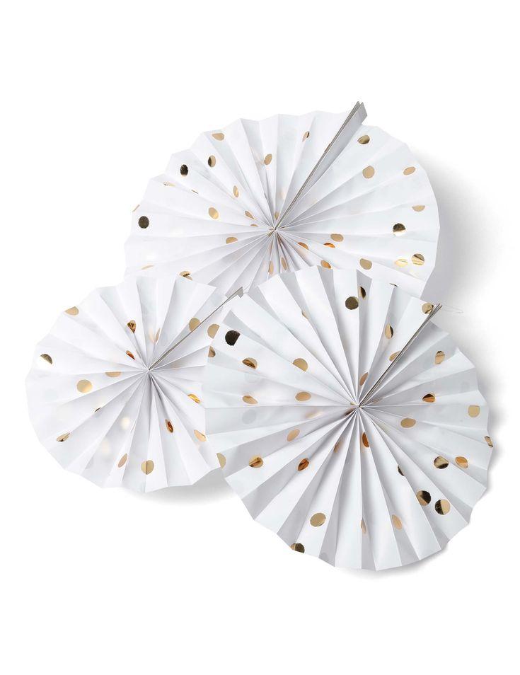 3 rosoni bianchi a pois oro da 30, 25, 20 cm su VegaooParty, negozio di articoli per feste. Scopri il maggior catalogo di addobbi e decorazioni per feste del web,  sempre al miglior prezzo!