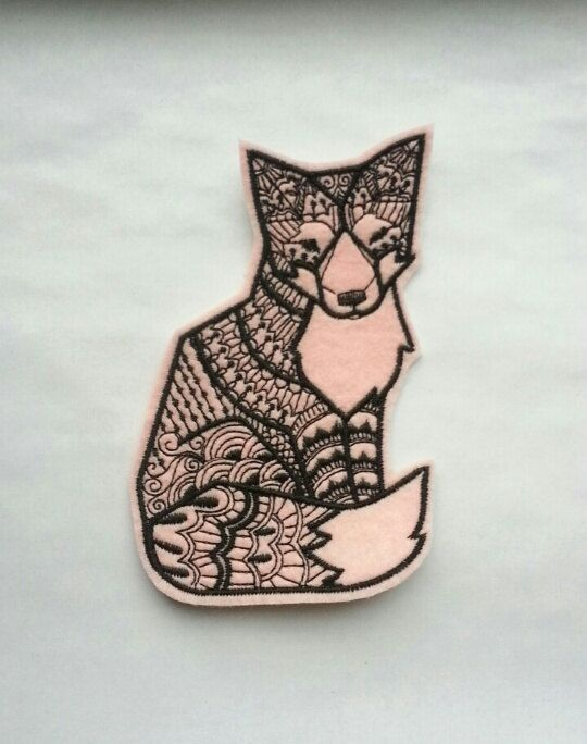 Iron On Patch Geometric Tribal Fox Applique in Pink, sew on patch, felt patch, embroider patch, pink felt, fox patch