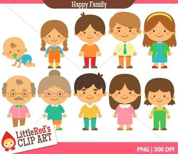 Family Clipart style B - blacklines included