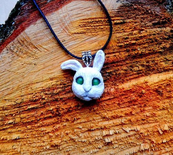 Rabbit head pendant made of polymer clay, size of the bunny is about 3 cm or 1.18 inches Waxed cord  I can make a brooch.   Make to order!  May be insignificant difference,... #polymerclay #animaltotem #jewelryanimals