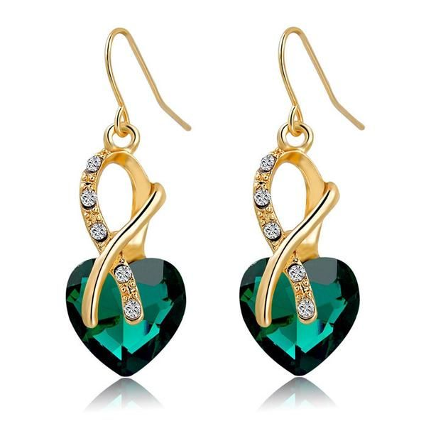 Colorful Austrian Crystal Heart Earrings  Earring Size: 3.9cm | 1.54inches  Metal: Three times gold plated on eco-friendly zinc alloy  Material: Austrian Crystals | Weight: 13 grams  Wearing Occasions: Party | Anniversary | Engagement | Prom | Wedding | Other  Packaging: Presented neatly inside a jewelry box making it an excellent gift idea