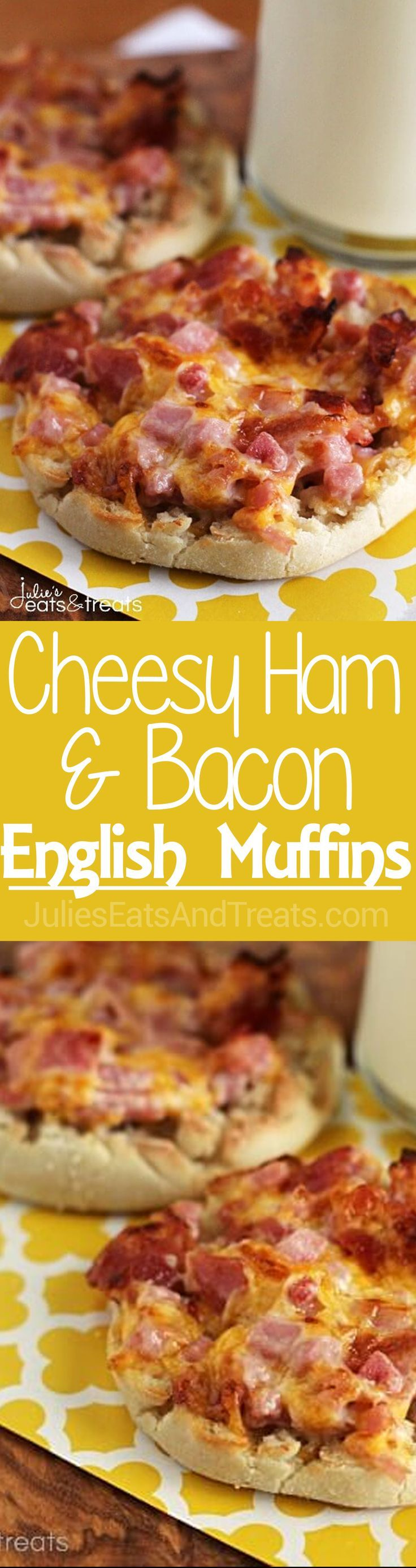 Cheesy Ham & Bacon English Muffins ~ Super Easy Breakfast for Mornings on the Go! English Muffin Loaded with Cheese, Ham & Bacon! via @julieseats