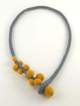 felted necklace (I find felted neckalaces are hard to wear by themselves because they chafe but I wear them on linen sweaters) Check out etsy for sellers.