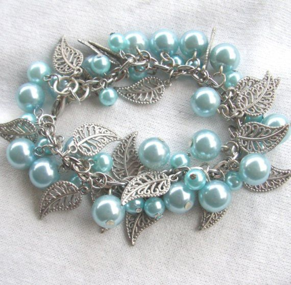 Pale blue pearl and silver leaf bracelet