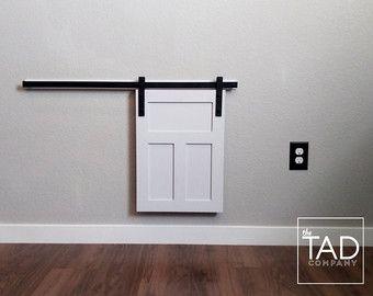 Pet Door Cover. Fixer Upper Style. Tiny Door. Mini Barn Door. Window Cover. Craftsman Style. Barn Door.  MINI BARN DOOR // Sliding Door // Farmhouse Chic // by TADcompany