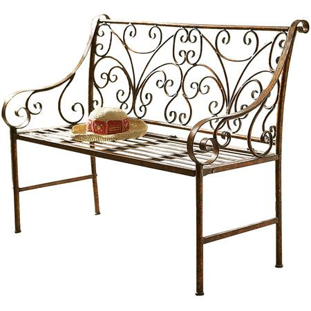 Adorned with elegant scrollwork detail, this chic bench imbues your entryway or three-season porch with Provencal charm.   Product: ...