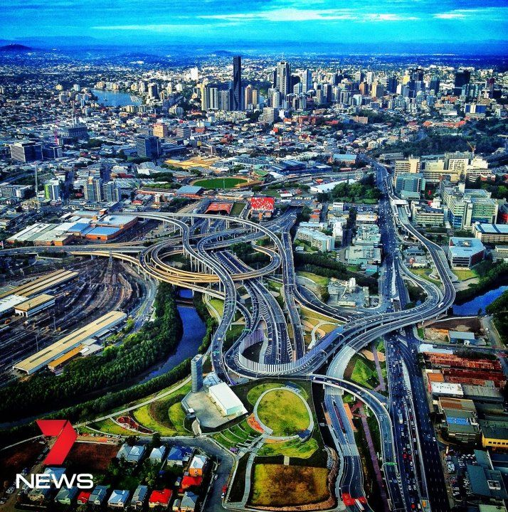 Brisbane City Australia.This spaghetti junction is the meeting of two tunnels and a city busway.