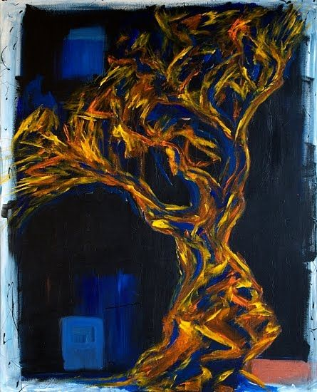 Daily Painters Abstract Gallery: OLIVE TREE - modern abstract painting by Lidija Ivanek (SiLa)