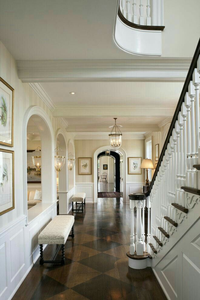 Best Beautiful Foyer With Staircase Having A Mahogany Handrail And Parquet Floor Tinted In Squares Of 400 x 300