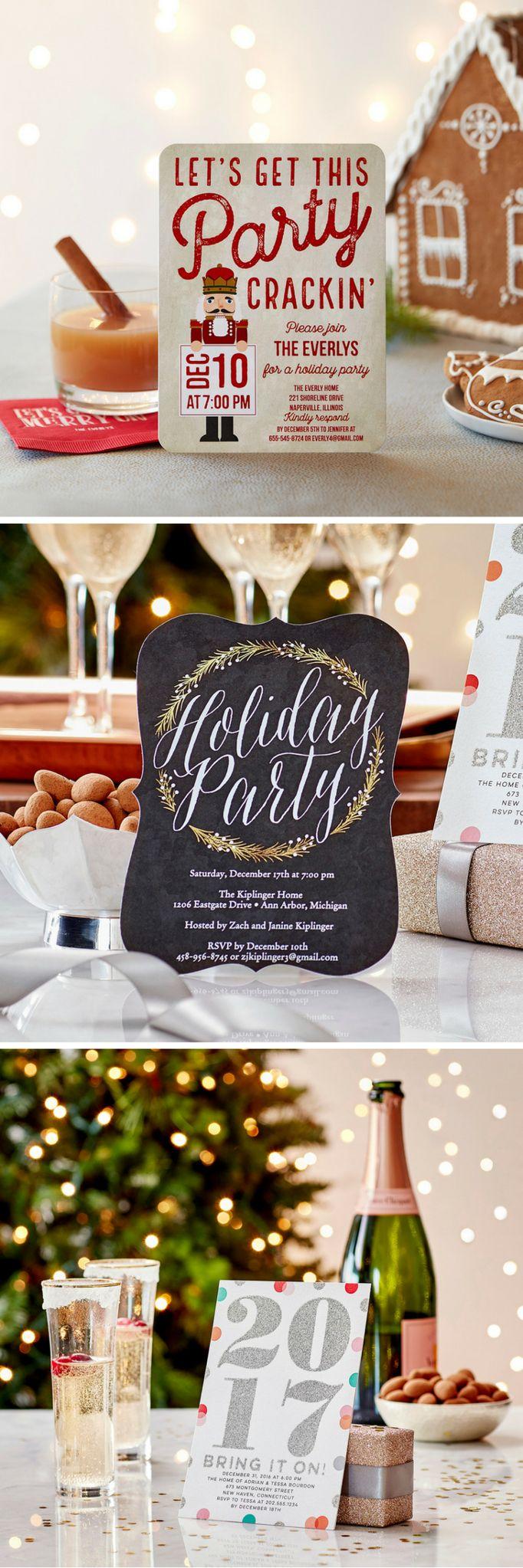 Create custom holiday party invitations + photo Christmas party invitations at Tiny Prints.