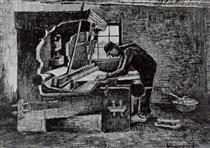Weaver Standing in Front of a Loom - Vincent van Gogh