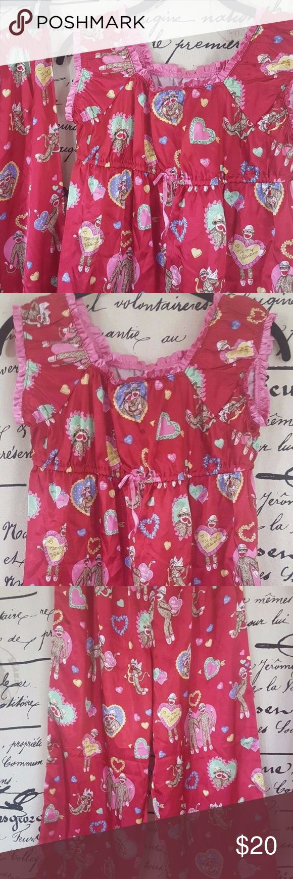 Nick and Nora Love Monkey Sleepwear Nick and Nora Girl Sleepwear Sock Monkey Red Pink Valentine Love PJs Size 14 16   Size: 14-16  Measurements: Underarm to Underarm 15 Inches, Length 23 Inches, Waist 22 Inches, Inseam 26 1/2 Inches Nick and Nora Pajamas Pajama Sets