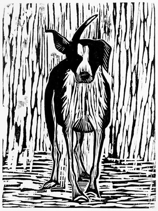Loving a Special Dog Woodcut by Howard Towll