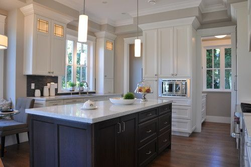 Kitchen Photos Benjamin Moore Revere Pewter Walls and Trim and Cabinets Dove White.
