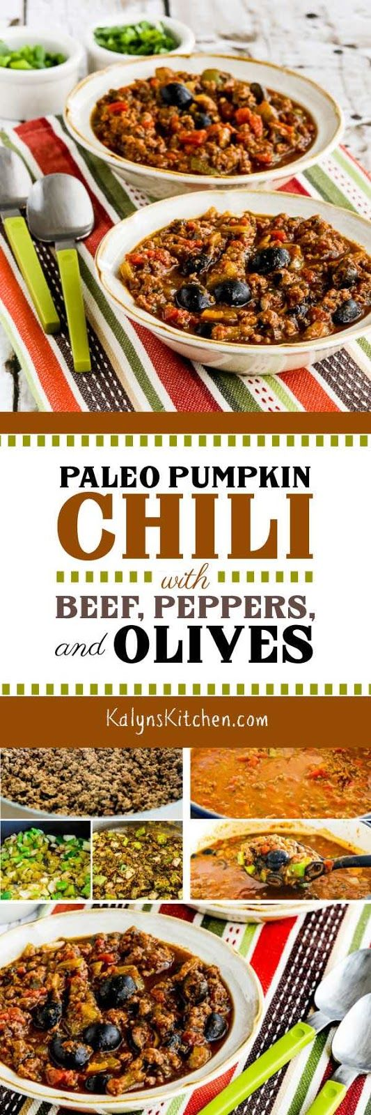 Paleo Pumpkin Chili with Beef, Peppers, and Olives (Video)