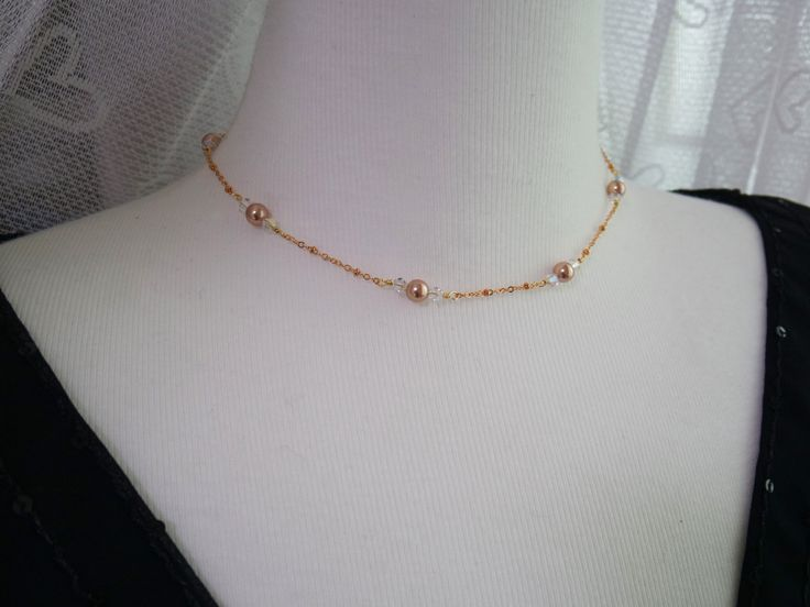 Rose Gold Chain Necklace, Rose Gold Pearl Necklace by YaesilJewelry on Etsy