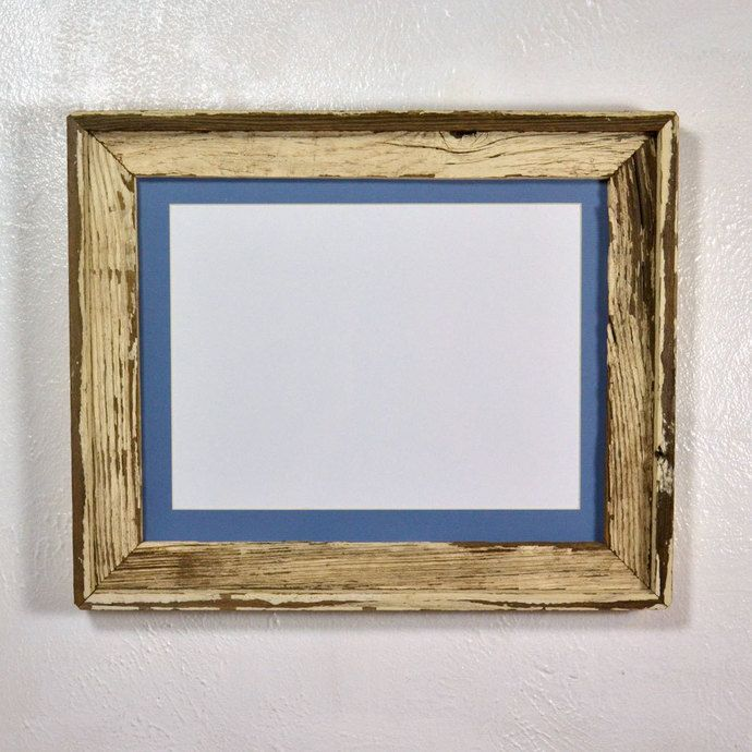 11x14 Shabby Chic Style Wood Picture Frame With Light Blue 9x12 Mat By Barnwood4u 50 00 Usd Barn Wood Picture Frames Wood Picture Frames Picture Frames