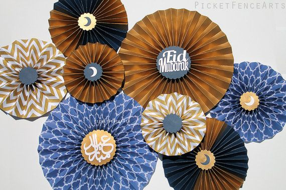 Navy and Gold Eid Decor, Eid Decorations, Eid Paper Fans, Ramadan, Happy Eid, Eid Celebration, Eid Mubarak, Islamic Decor