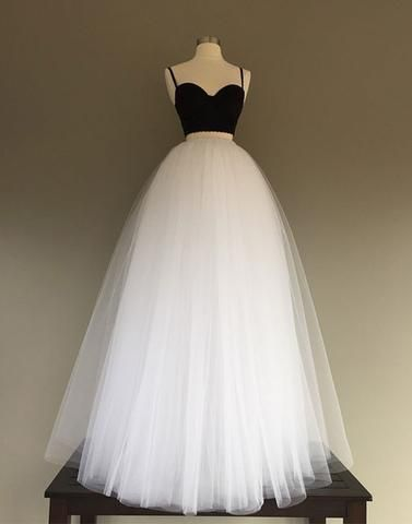 Black white two pieces A-line strap tulle long floor-length Prom Dress