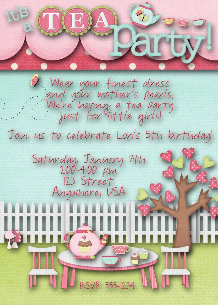 Tea Party Birthday Party Invitation. Emma's birthday? Course it wouldnt be just girls though......
