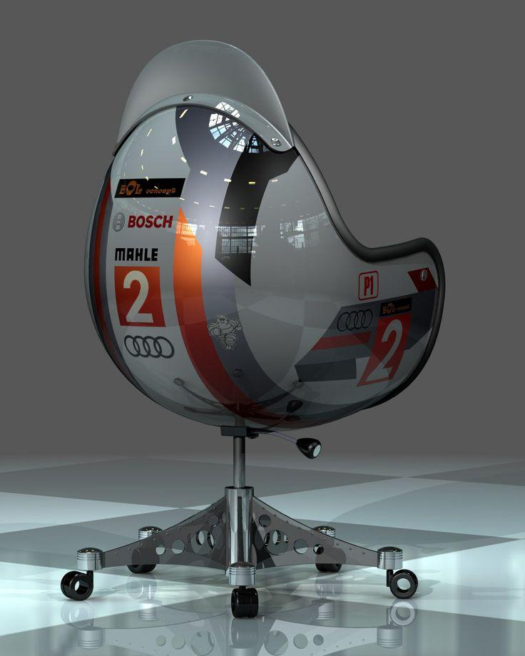 """Siège de bureau par Thierry Ribemont """"j'ai réalisé ce rendu réaliste avec le module complémentaire Photoworks du logiciel Solidworks 2010. Cette réalisation désormais commercialisée (bol-concept.com) est issue de l'imagination d'un ami passionné d'automobile. il souhaitait concevoir des sièges de bureau avec une conotation automobile."""" CAO, CAD, 3D, Lynkoa"""