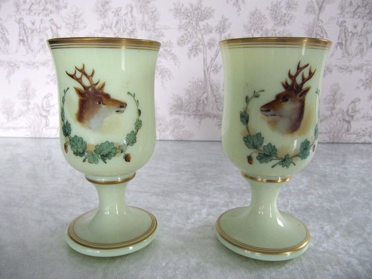 Antique French Rare Pair Vaseline Opaline Goblet Wine Glass Hand Painted Enamel
