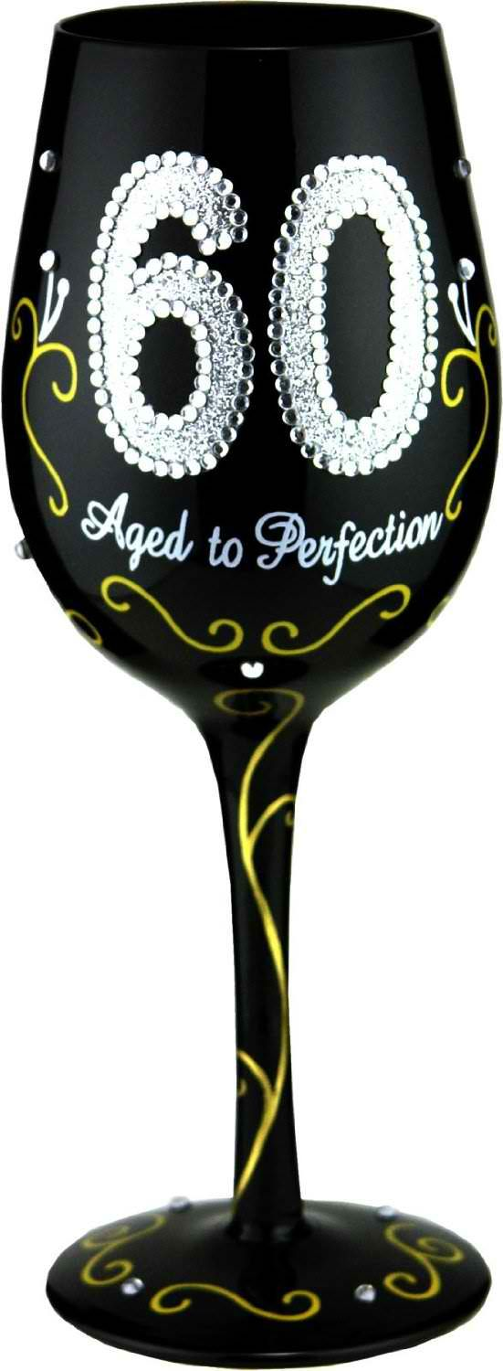 60 Aged to Perfection Handpainted Wine Glass (perhaps do this for Grandmother's 90th birthday party.