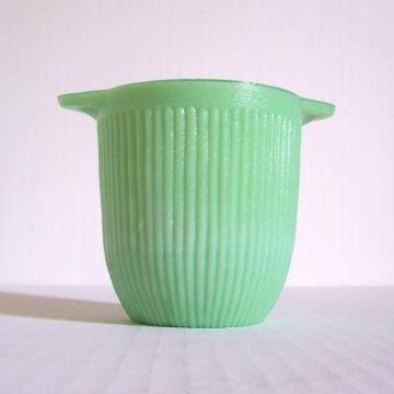 Vintage Jadeite Sugar Bowl Ribbed Green Jadite Depression Glass by BarnFlyVintage for $14.95