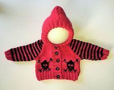 Baby Goth Emo Girls Hand Knitted Skull Crossbone Hoody/Cardigan/Jacket Newborn