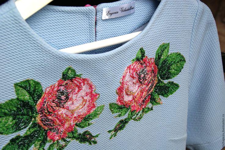 """Купить Платье с вышивкой """"Розы"""" голубое - голубой, платье, платье с воланом, платье с вышивкой"""
