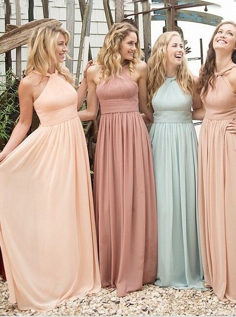 Buy Elegant Halter Ruffles Empire Floor-length Chiffon Bridesmaid Dresses CHBD-70953 Bridesmaid Dresses under US$ 109.99 only in SimpleDress.