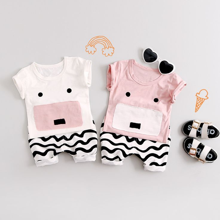 Baby Sets Boys Cotton Summer Newborn Cute  Aimals Infant Clothing Sets Baby Girls Clothing Suits