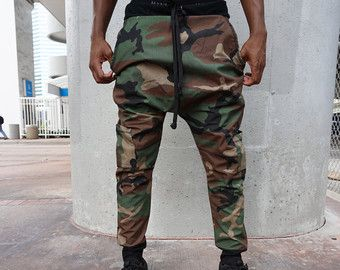 Pantalones de harén de entrepierna de VENTA Mens ejército carga gota / corredores hombres Pantalones Harem Mens / tres bolsillos / hecho a mano hilos de MORDAZA