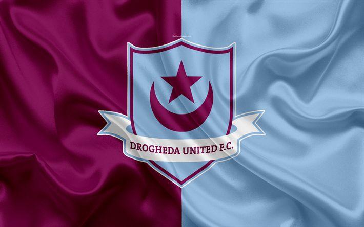 Download wallpapers Drogheda United FC, 4K, Irish Football Club, logo, emblem, League of Ireland, Premier Division, football, Droed, Ireland, silk flag, Irish Football Championship