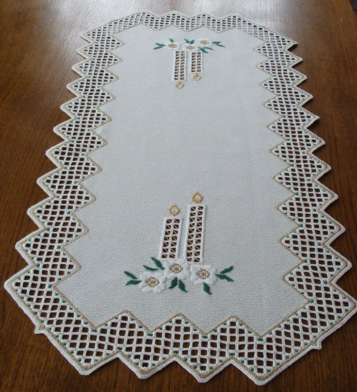 HARDANGER Embroidery large TABLE RUNNER with candles for Christmas - handmade   eBay