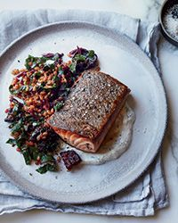 Caraway Salmon with Rye Berry-and-Beet Salad Recipe on Food & Wine