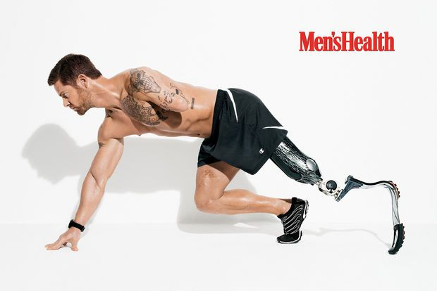 """""""fitness is better than any medicine out there...."""" AMEN!!!  Disabled Army vet Noah Galloway of Alabama turns heads on cover of Men's Health"""