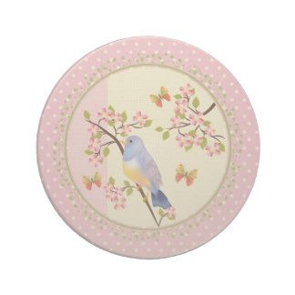 Blue bird blossom pink beverage coasters
