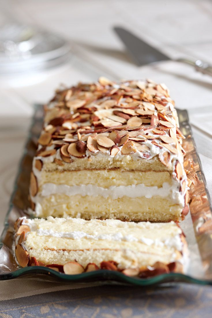 Toasted Almond Dacquoise captures the artistic flair of a boutique bakery specialty. Crafted with lovely layers of sponge cake, toasted almond meringue, and vanilla-amaretto mousse, this confection boasts a superb mixture of flavors and textures.