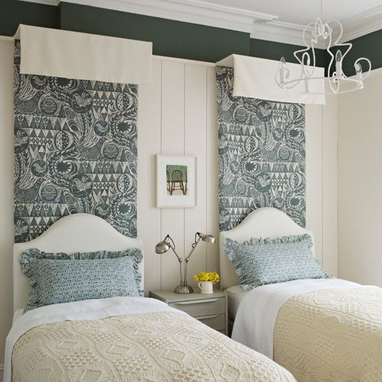 Green and ivory bedroom with patterned fabric | Bedroom decorating ideas | housetohome.co.uk