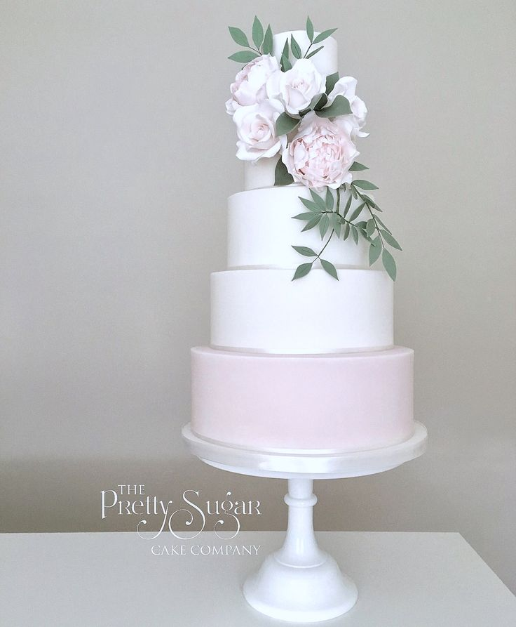 Bridal bouquet inspired wedding cake. Palest pink peonies, blush roses and cascading greenery