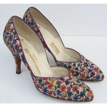 1950s Womens Vintage Floral Lame Mademoiselle Shoes - Photo