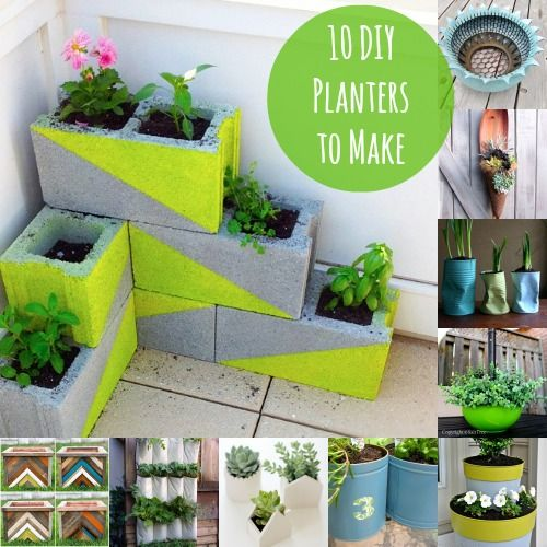 . I like the idea of painting cinder blocks and turning them into planters... I think I'd use a different color and pattern tho.