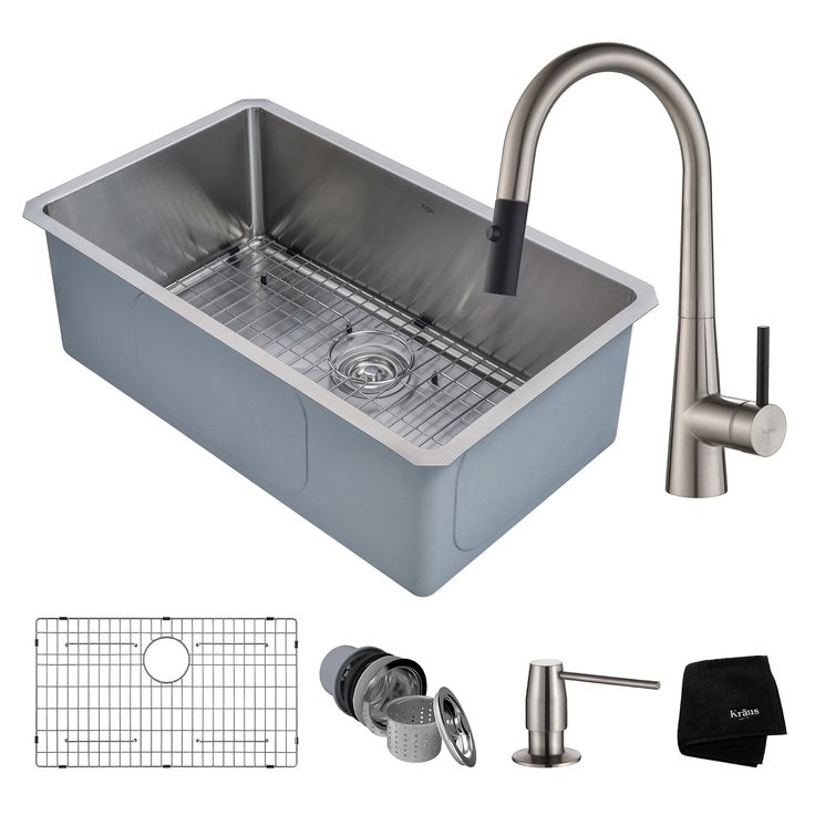 waschbecken kraus handmade undermount stainless steel silver single bowl kitchen sink and crespo single handle - Kohler Waschbecken Schneidebrett
