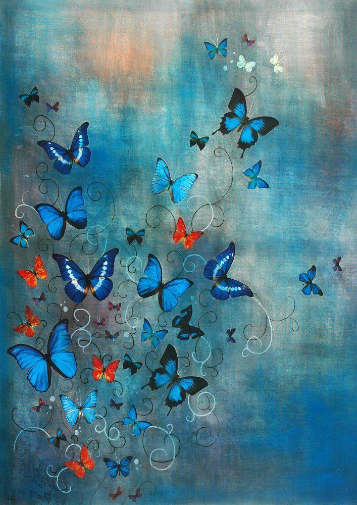 Образ Лили Гринвуд подписал Giclée Принт - бабочки на голубом - А2…